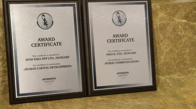 Két elismerés is Magyarországra került az első ízben meghirdetett Atomexpo Awardson. Fotó: Vida Tünde